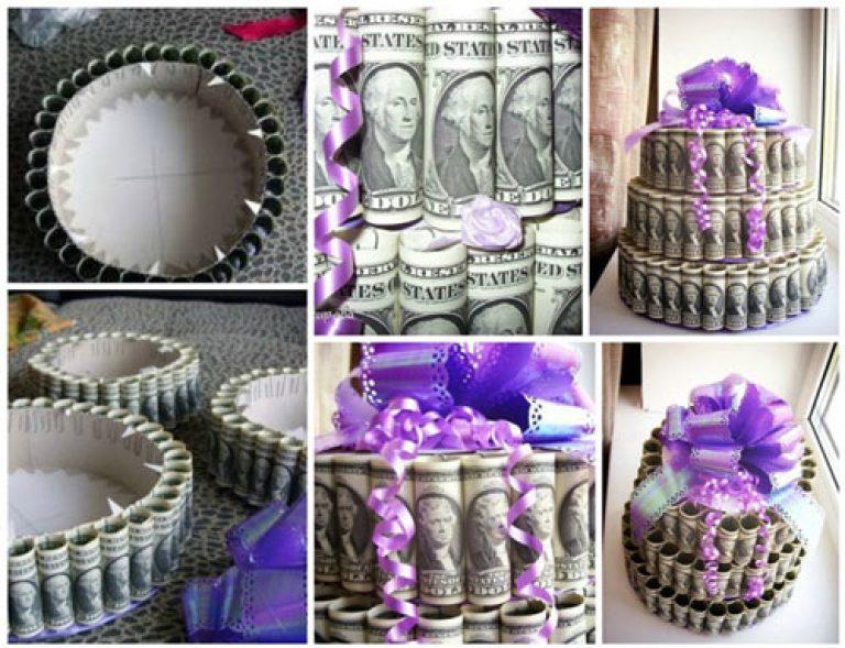 Торт из денег на свадьбу своими руками  474